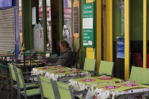 Man alone in restaurant